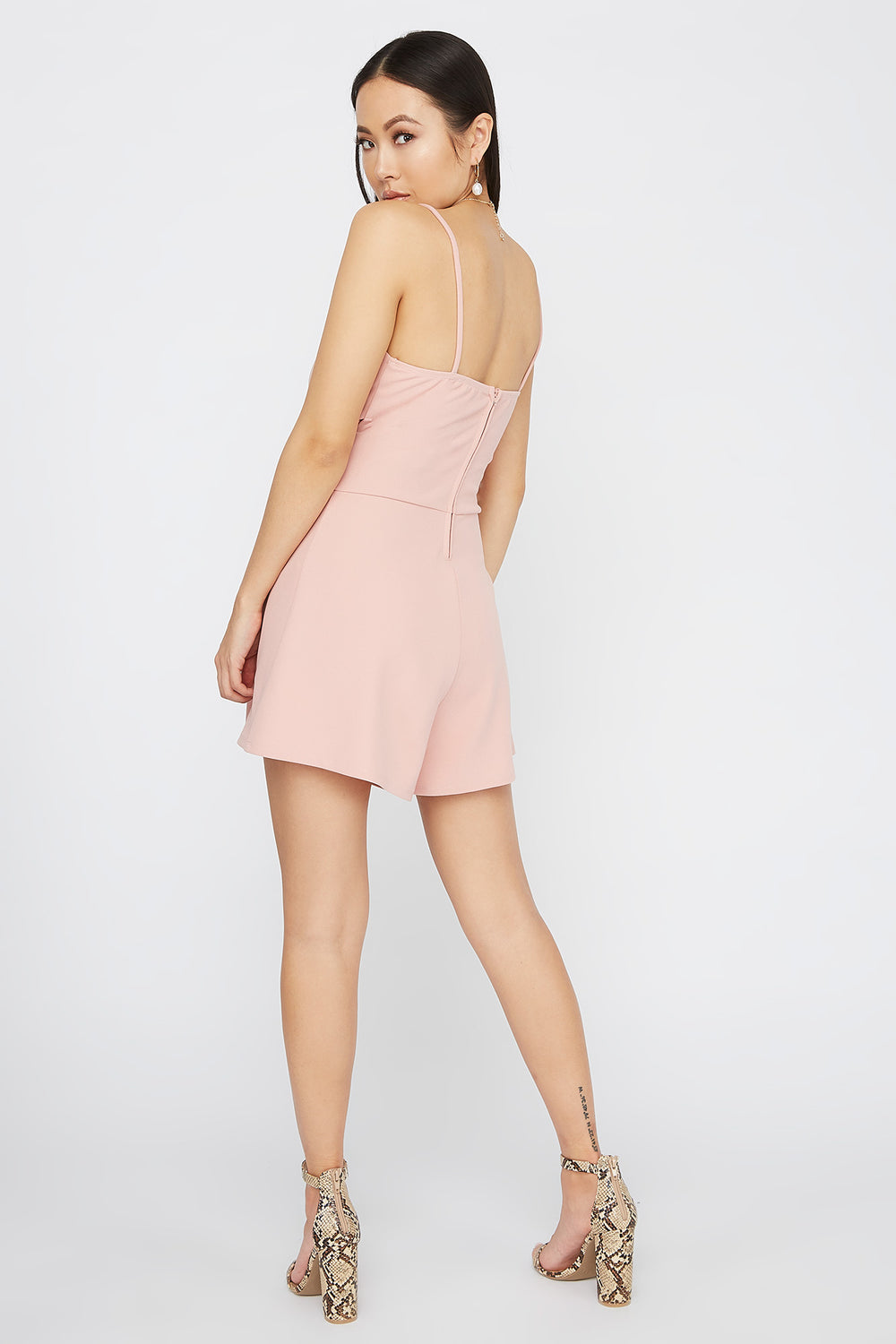 V-Neck Crossover Cut Out Romper Dusty Rose
