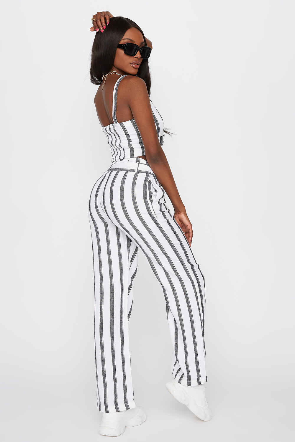 Striped Self Tie Wide Leg Linen Pant Assorted