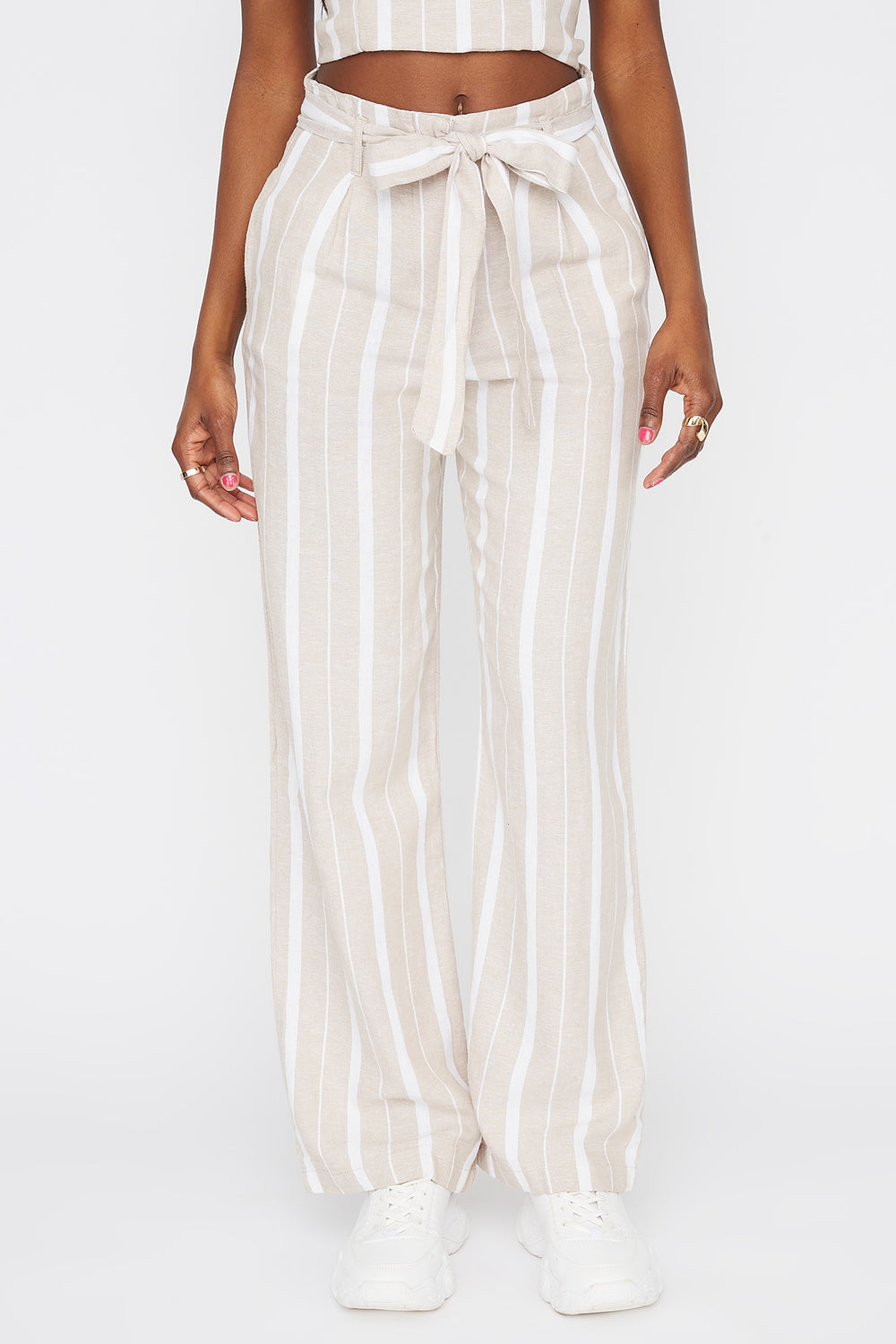 Striped Self Tie Wide Leg Linen Pant Multi