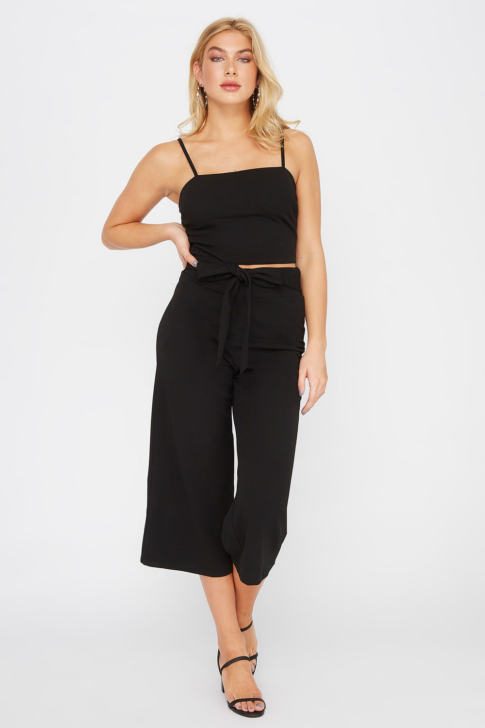 Cropped Crepe Square Neck Tank Black
