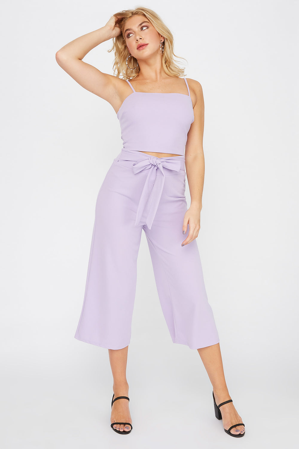 Cropped Crepe Square Neck Tank Lilac