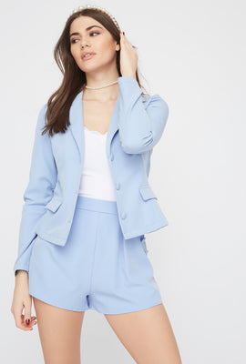 Basic 2-Button Faux Pocket Blazer