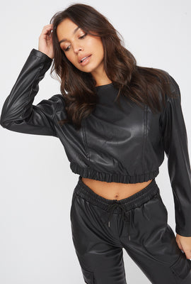Cropped Faux-Leather Long Sleeve Shirt