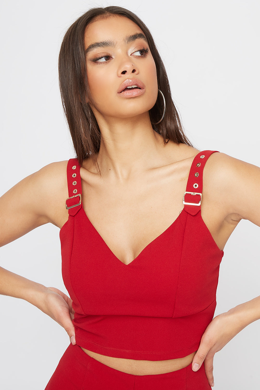 Belt Straps Cropped Tank Red