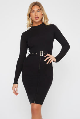 Half-Zip Pocket Belted Long Sleeve Sweater Dress