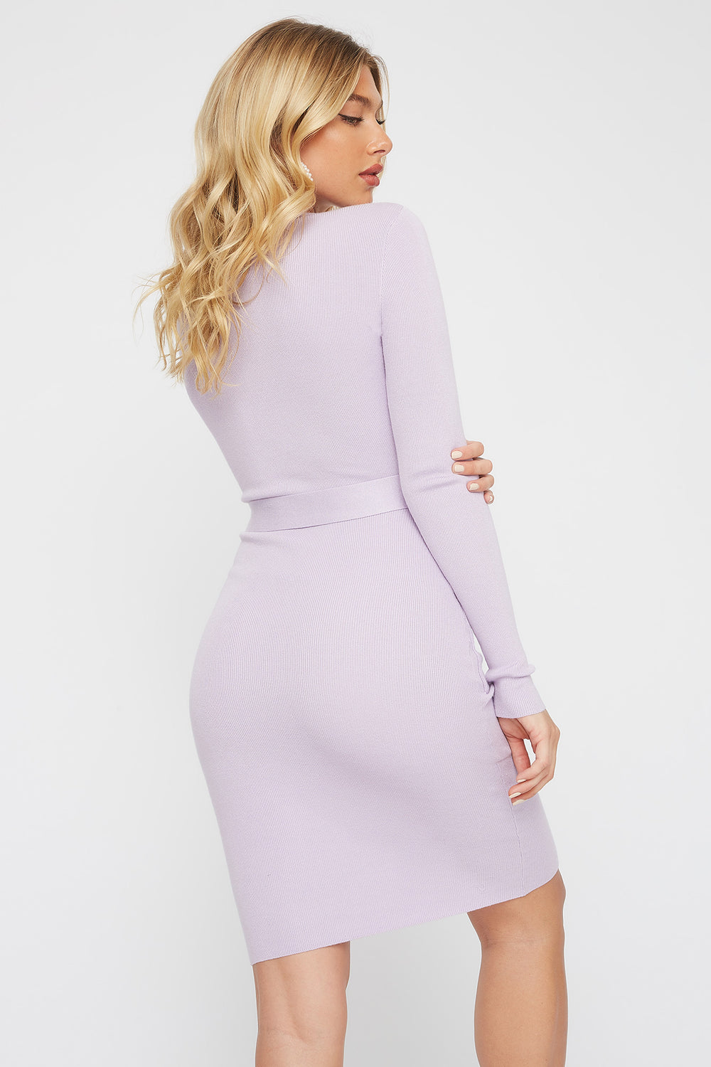 Half-Zip Pocket Belted Long Sleeve Sweater Dress Lilac
