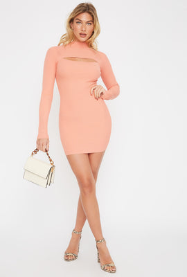 Ribbed Mock Neck Cut Out Sweater Dress