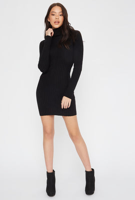 Knit Turtleneck Long Sleeve Mini Dress