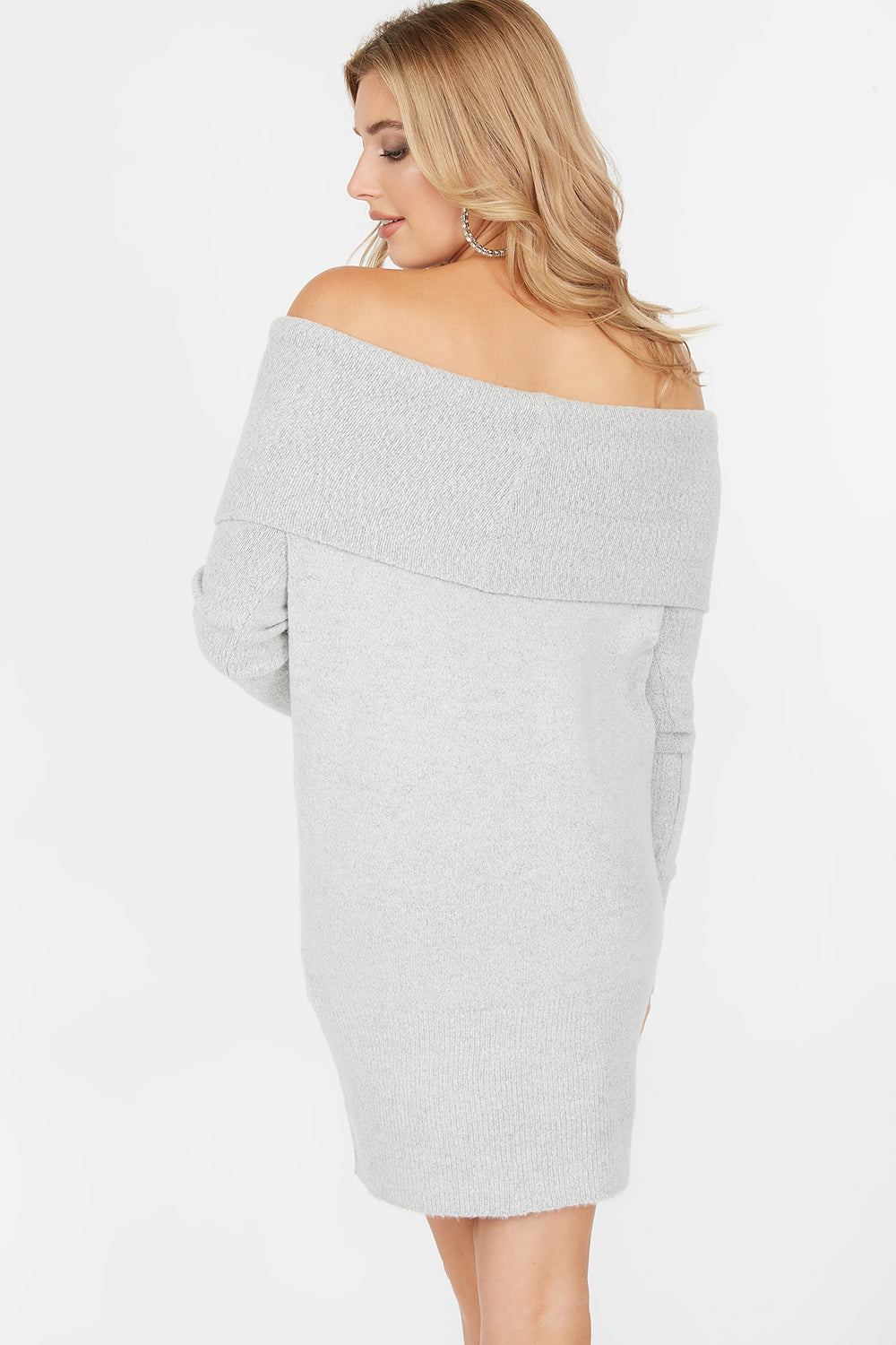 Off The Shoulder Long Sleeve Sweater Dress Heather Grey