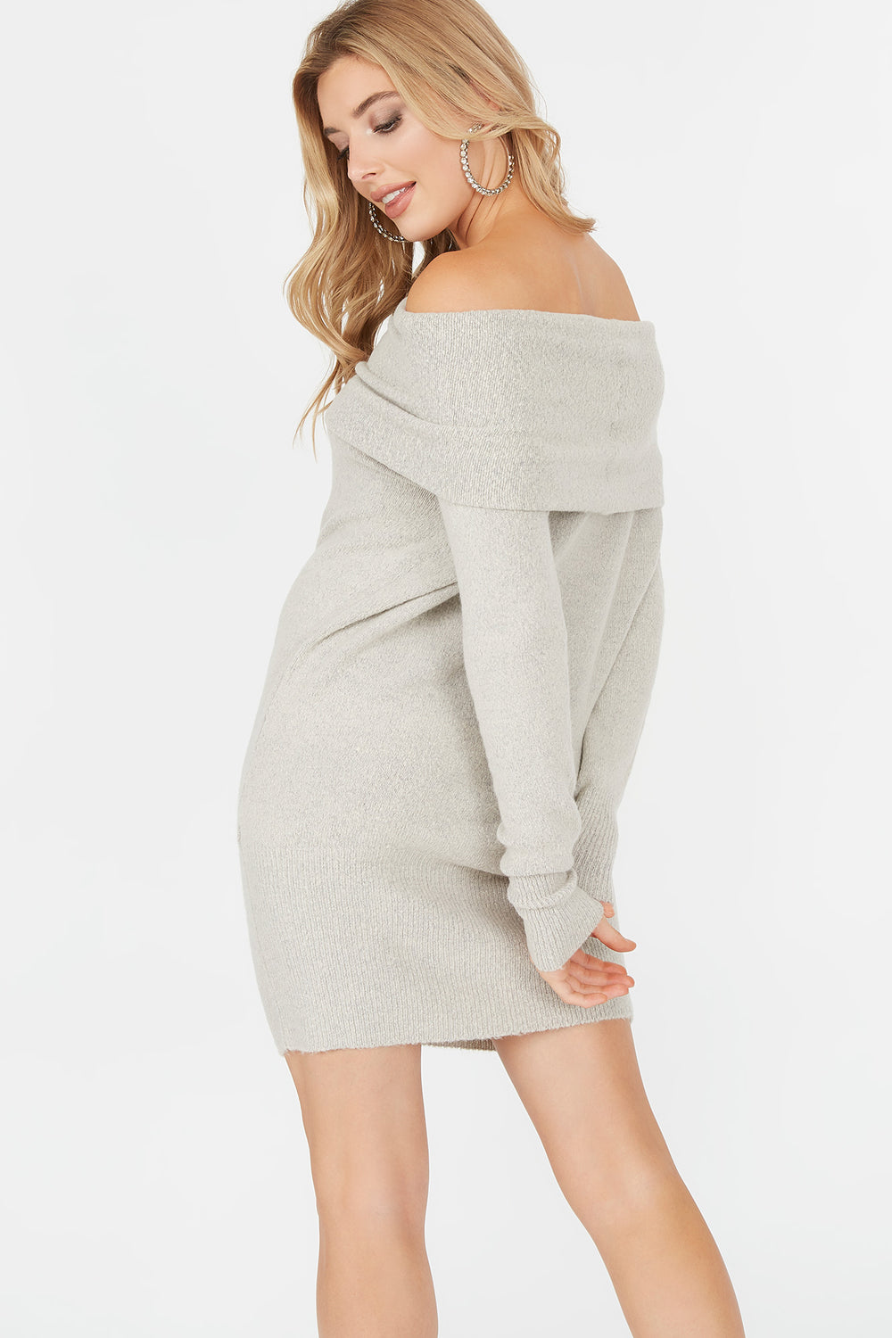 Off The Shoulder Long Sleeve Sweater Dress Oatmeal