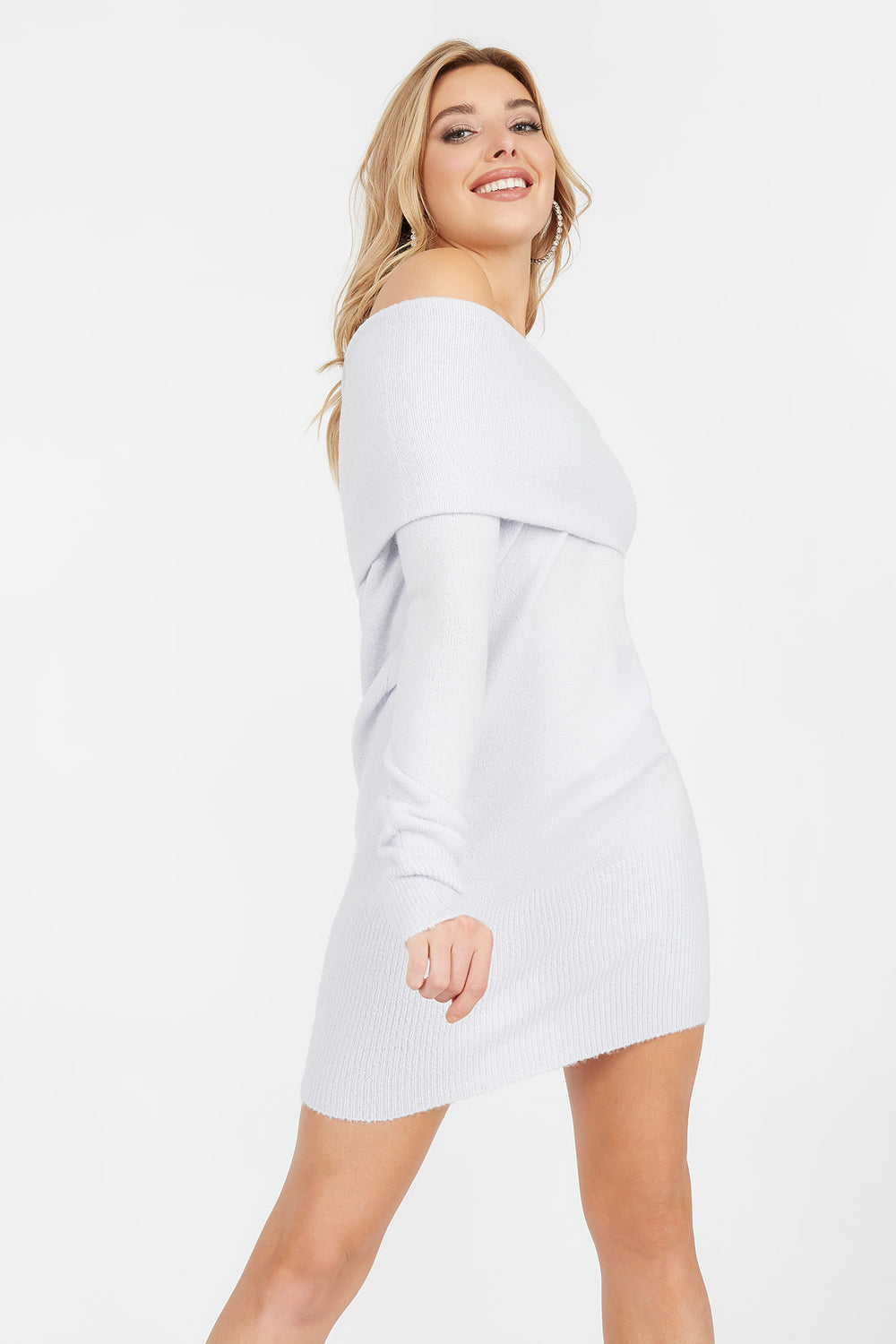 Off The Shoulder Long Sleeve Sweater Dress Lilac