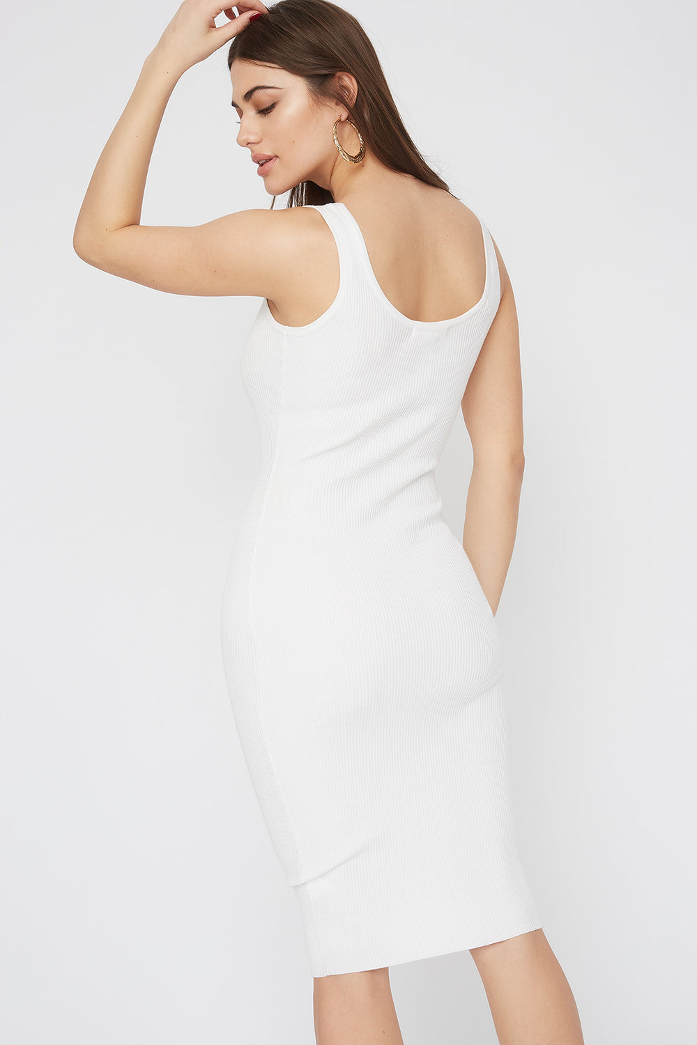 Ribbed Scoop Neck Midi Dress White