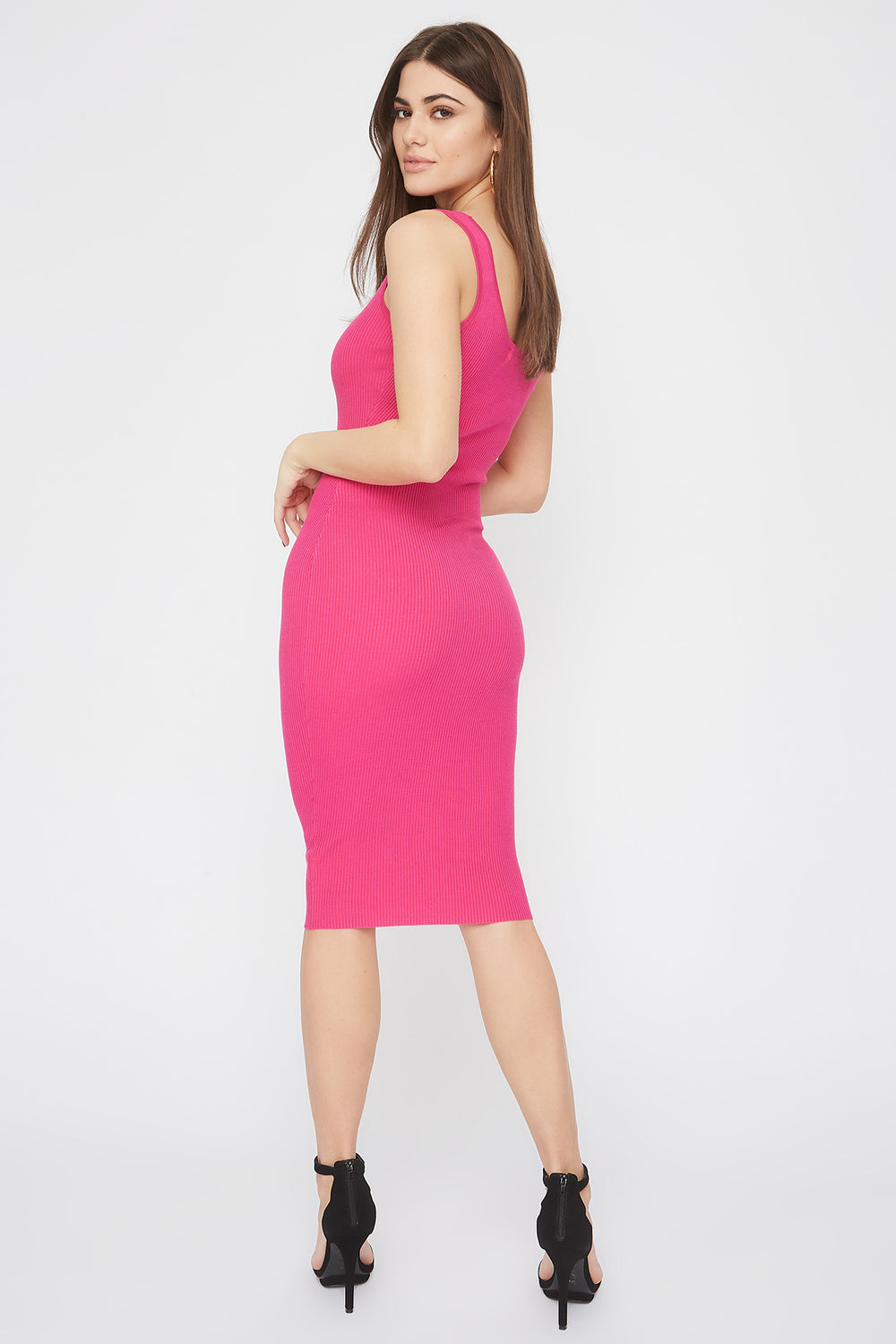 Ribbed Scoop Neck Midi Dress Neon Pink