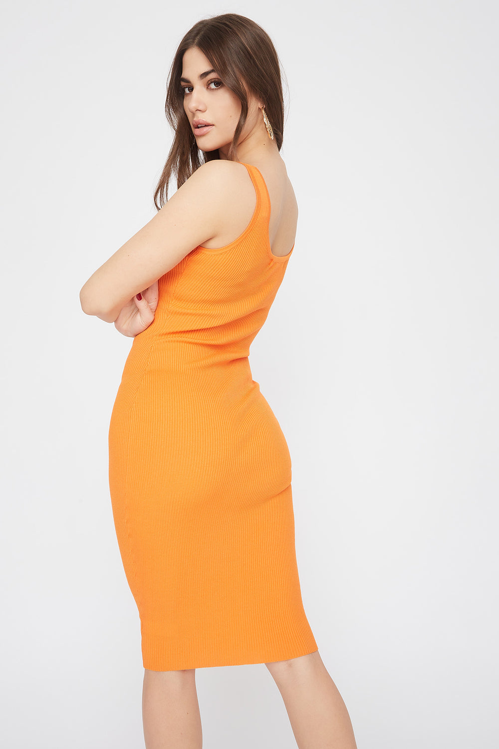 Robe midi côtelée à encolure arrondie Orange fluo