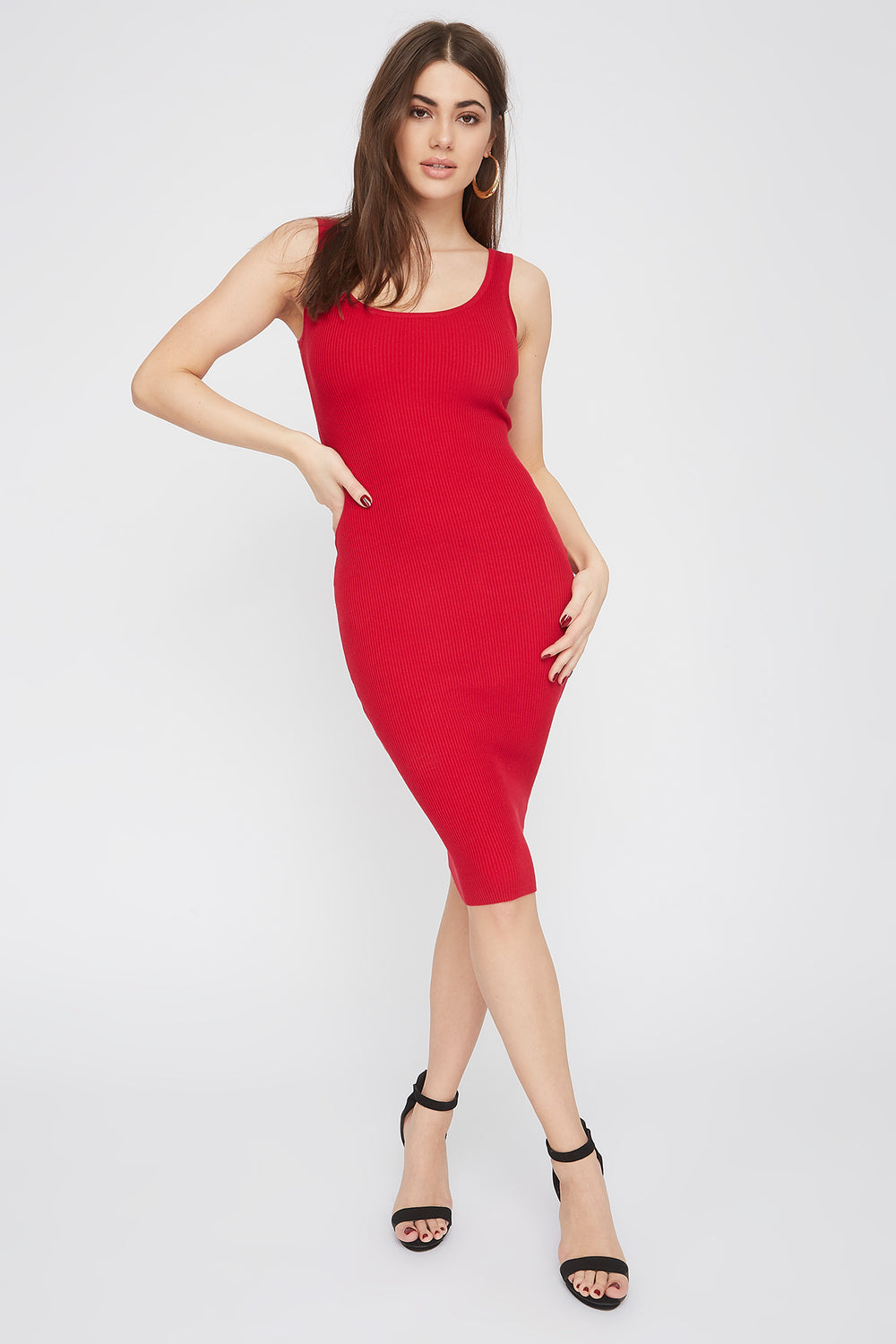 Ribbed Scoop Neck Midi Dress Red