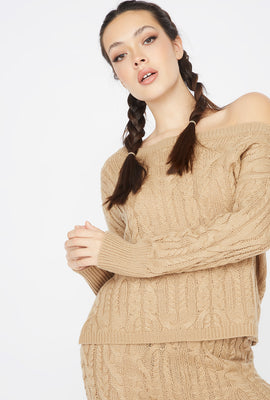 Relaxed Cable Knit Round Neck Sweater