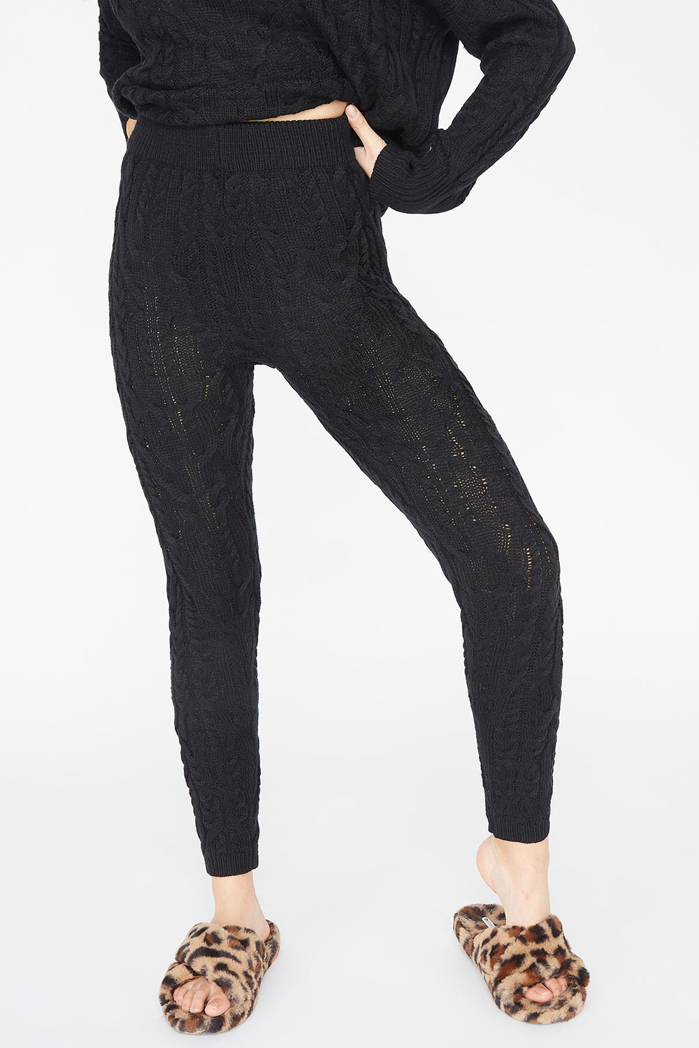 High-Rise Cable Knit Legging Black