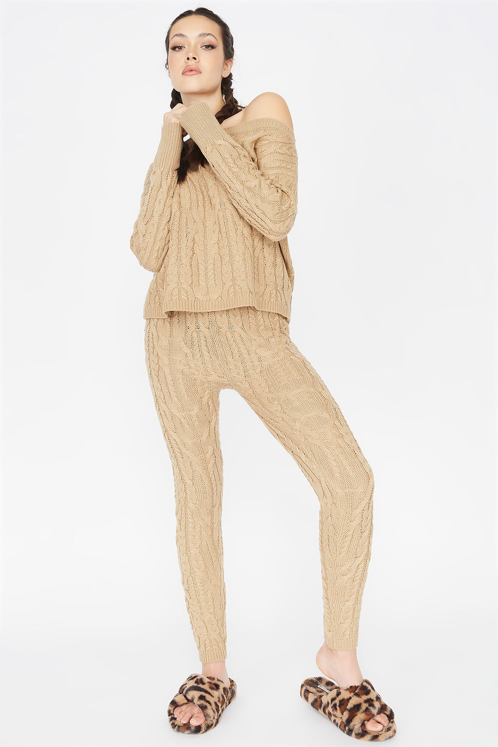 High-Rise Cable Knit Legging Camel