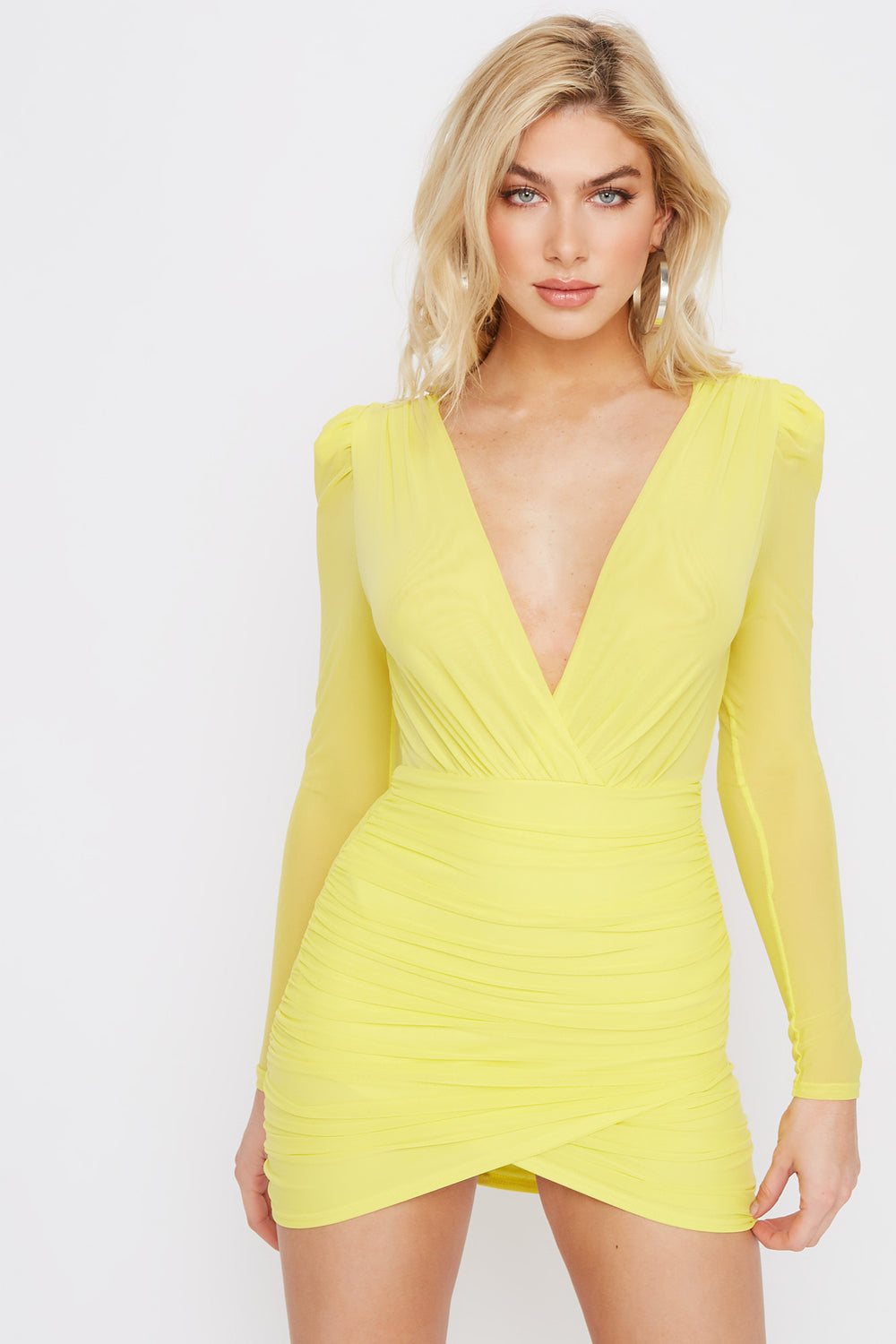 Deep V-Neck Mesh Ruched Mini Dress Neon Yellow