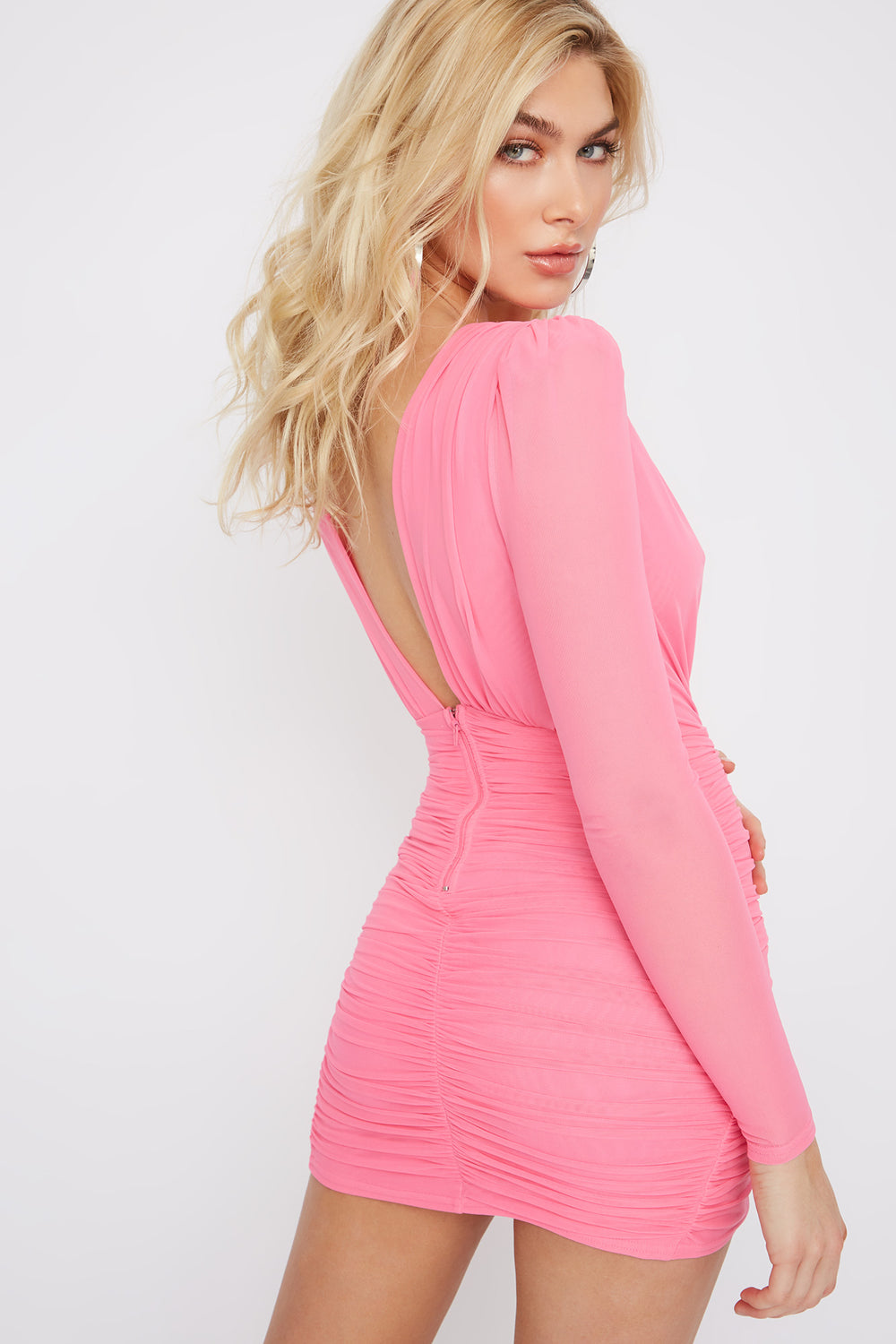 Deep V-Neck Mesh Ruched Mini Dress Neon Pink