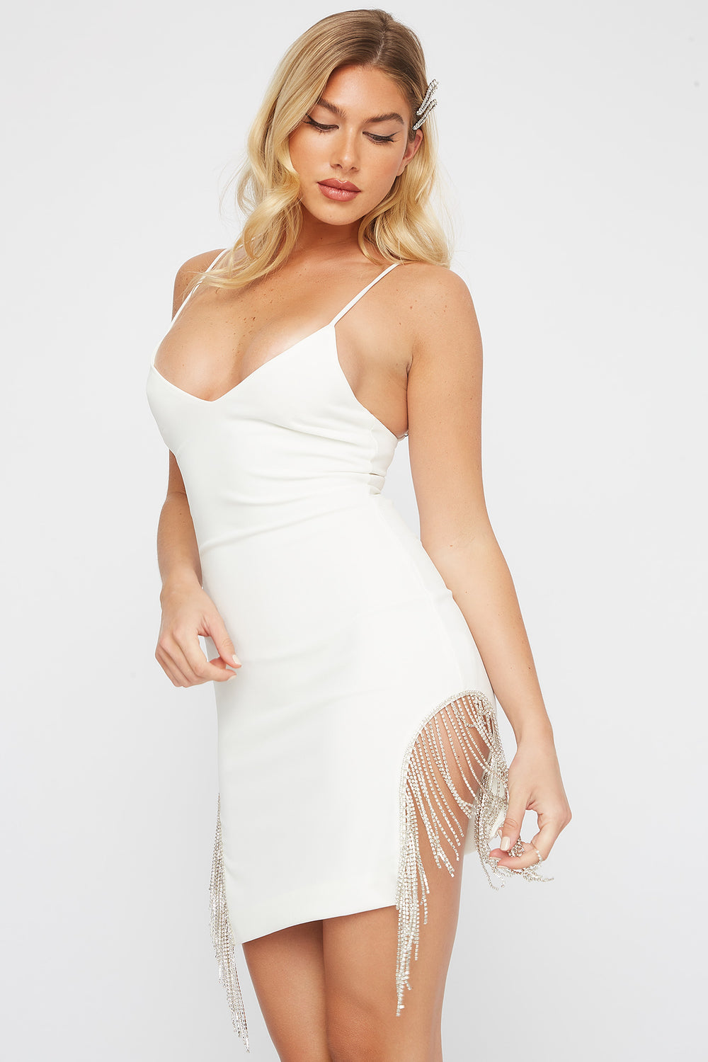 V-Neck Rhinestone Fringe Mini Dress Ivory