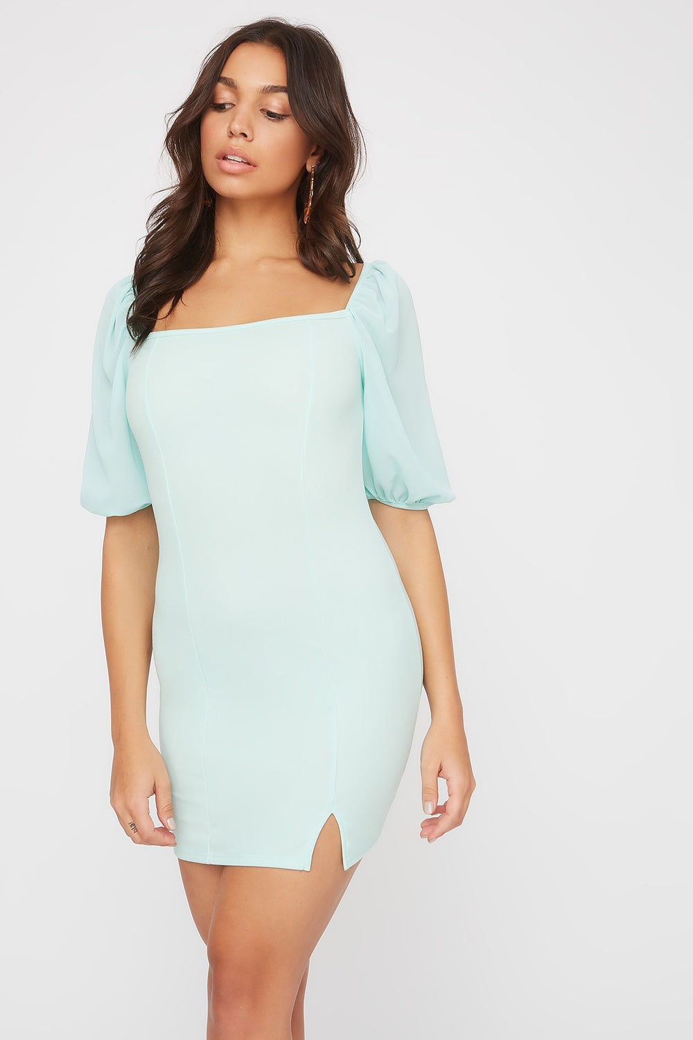 Contrast Puff Sleeve Mini Dress Sage