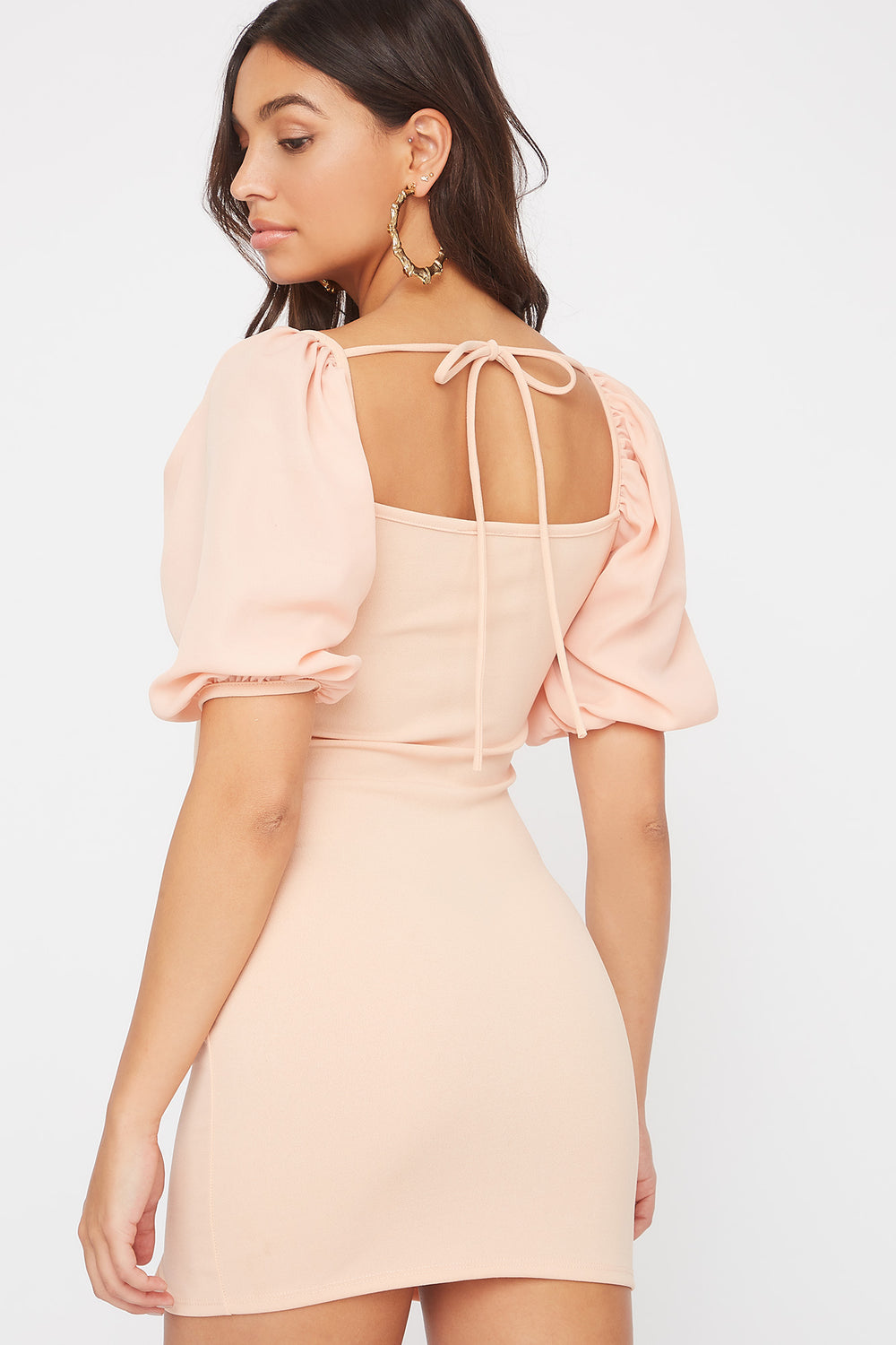 Contrast Puff Sleeve Mini Dress Peach