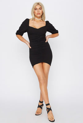 Ruched Sweetheart Puff Sleeve Mini Dress