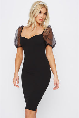 Sweetheart Neck Puff Sleeve Midi Dress