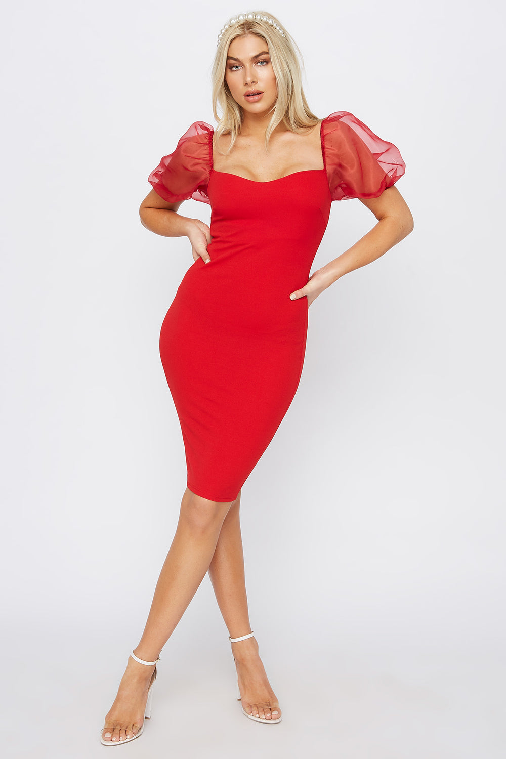 Sweetheart Neck Puff Sleeve Midi Dress Red