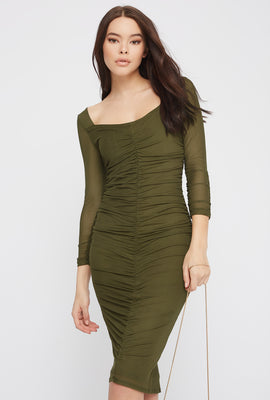Long Sleeve Ruched Mesh Midi Dress