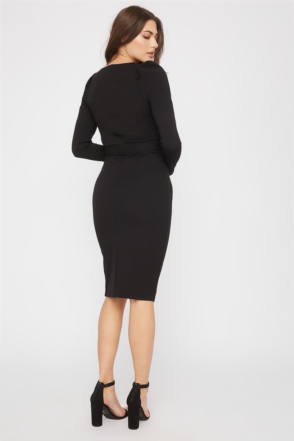 Belted V-Neck Long Sleeve Midi Dress Black