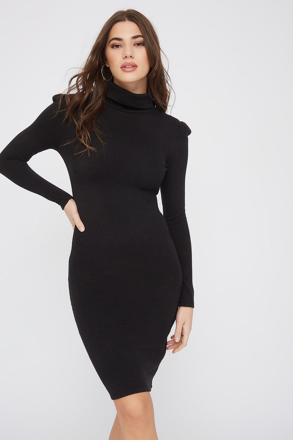 Ribbed Turtleneck Mini Dress Black
