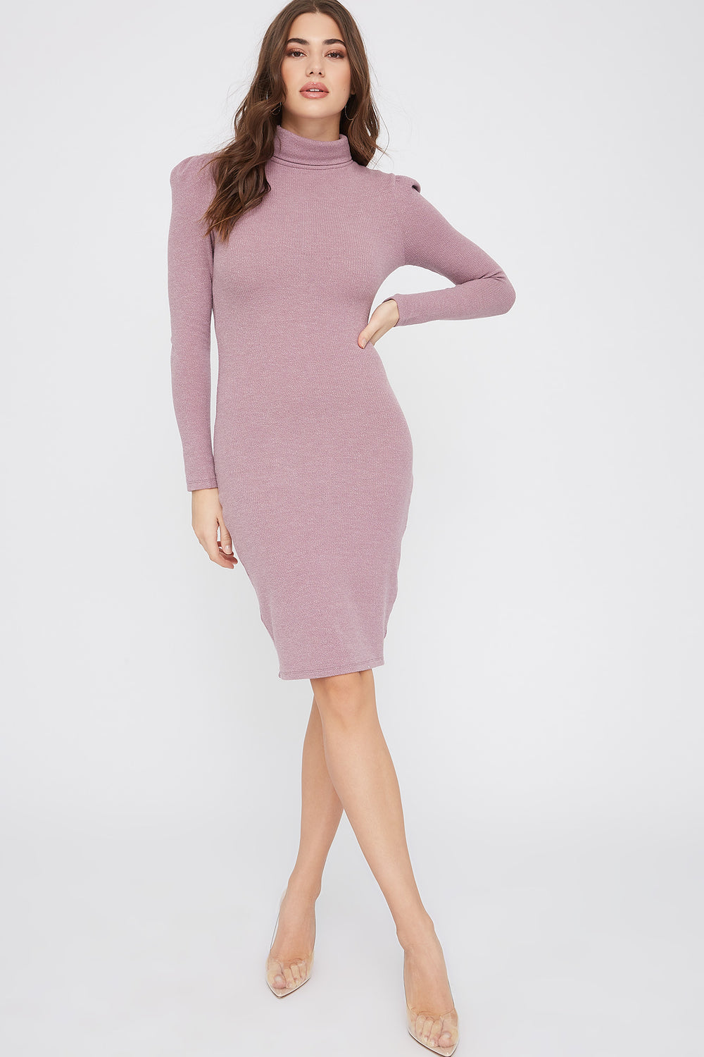 Ribbed Turtleneck Mini Dress Lilac