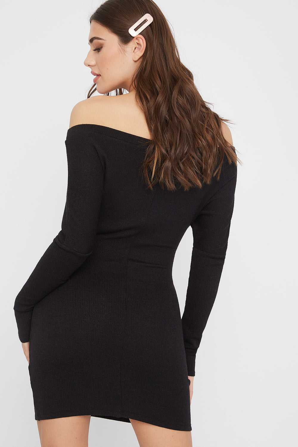 Ribbed Off The Shoulder Tie Front Mini Dress Black