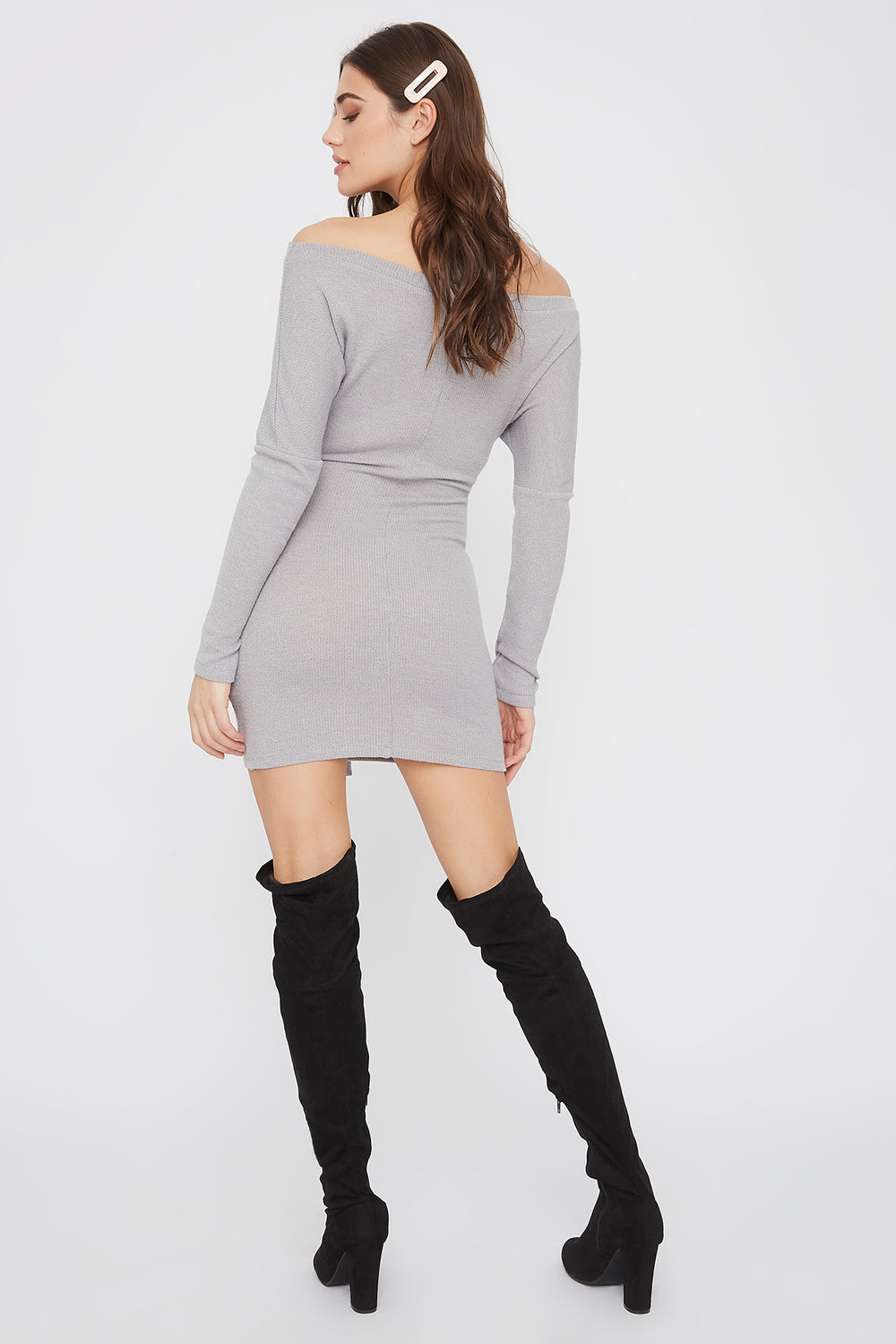 Ribbed Off The Shoulder Tie Front Mini Dress Heather Grey