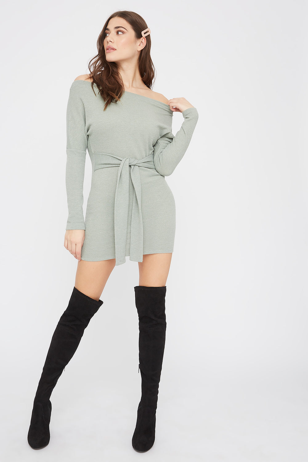 Ribbed Off The Shoulder Tie Front Mini Dress Sage