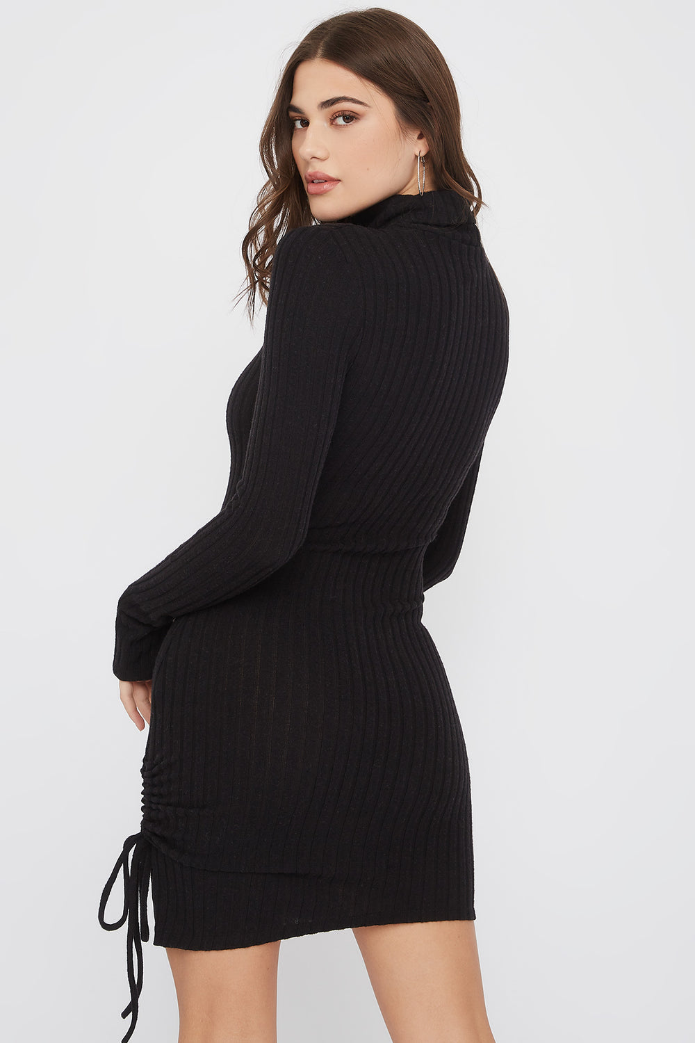 Ribbed Ruched Turtleneck Mini Dress Black