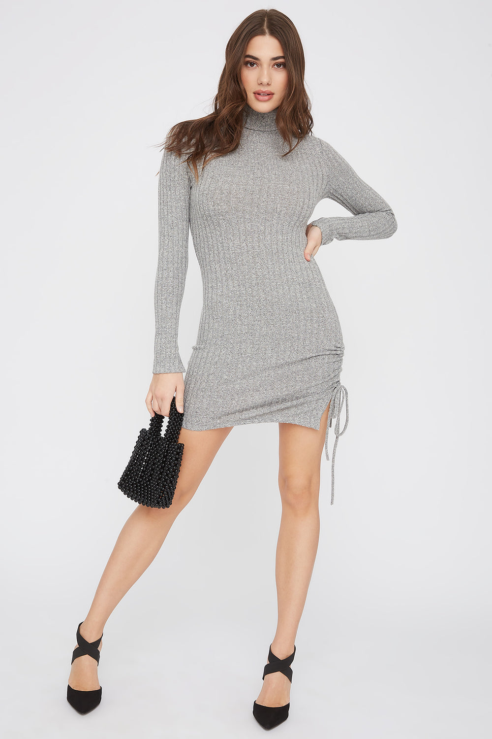 Ribbed Ruched Turtleneck Mini Dress Oatmeal