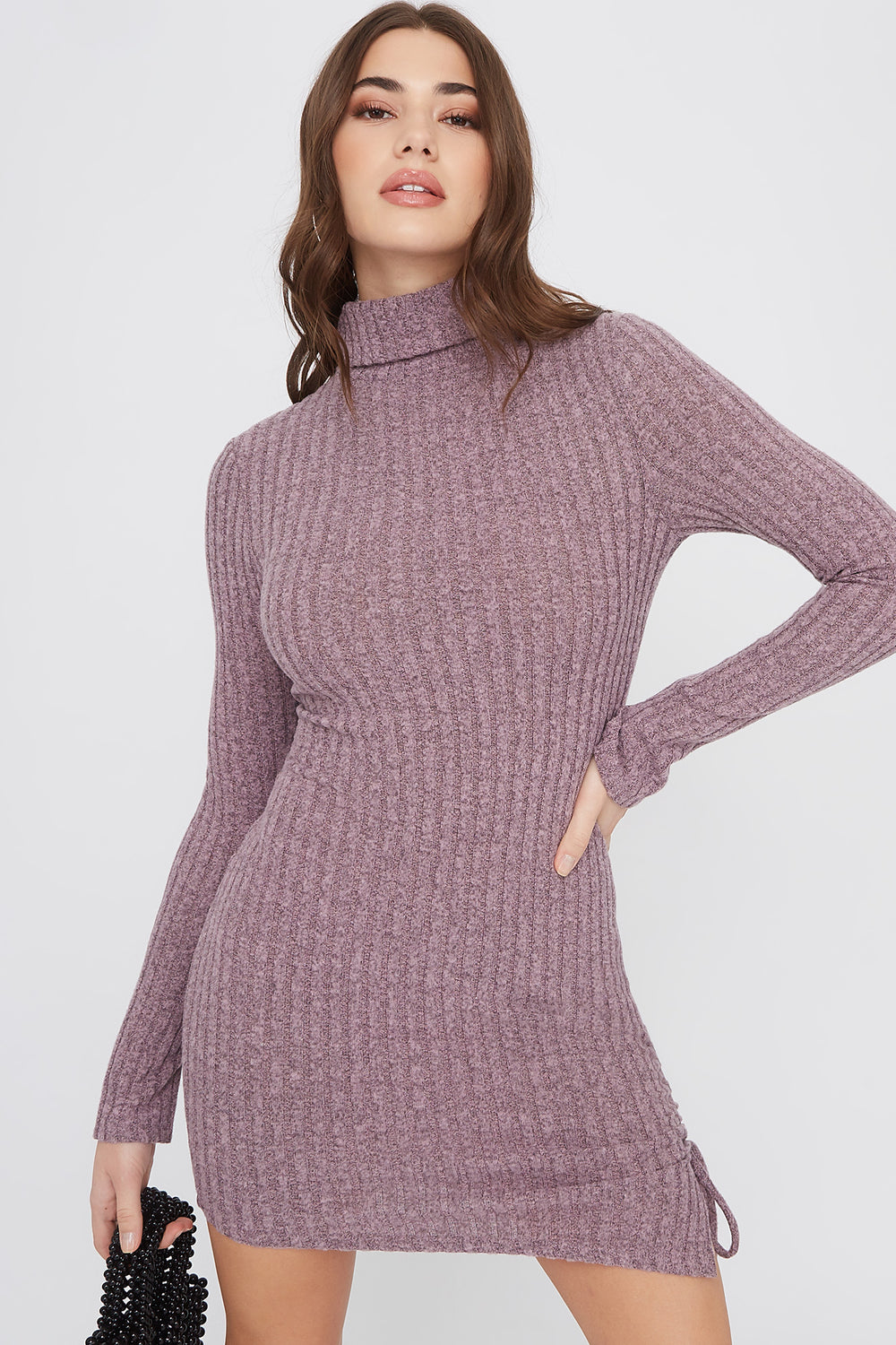 Ribbed Ruched Turtleneck Mini Dress Lilac