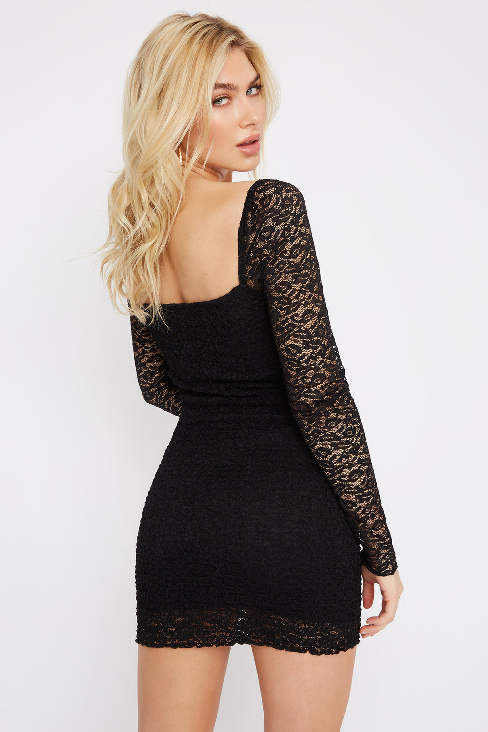 Lace Square Neck Smocked Mini Dress Black