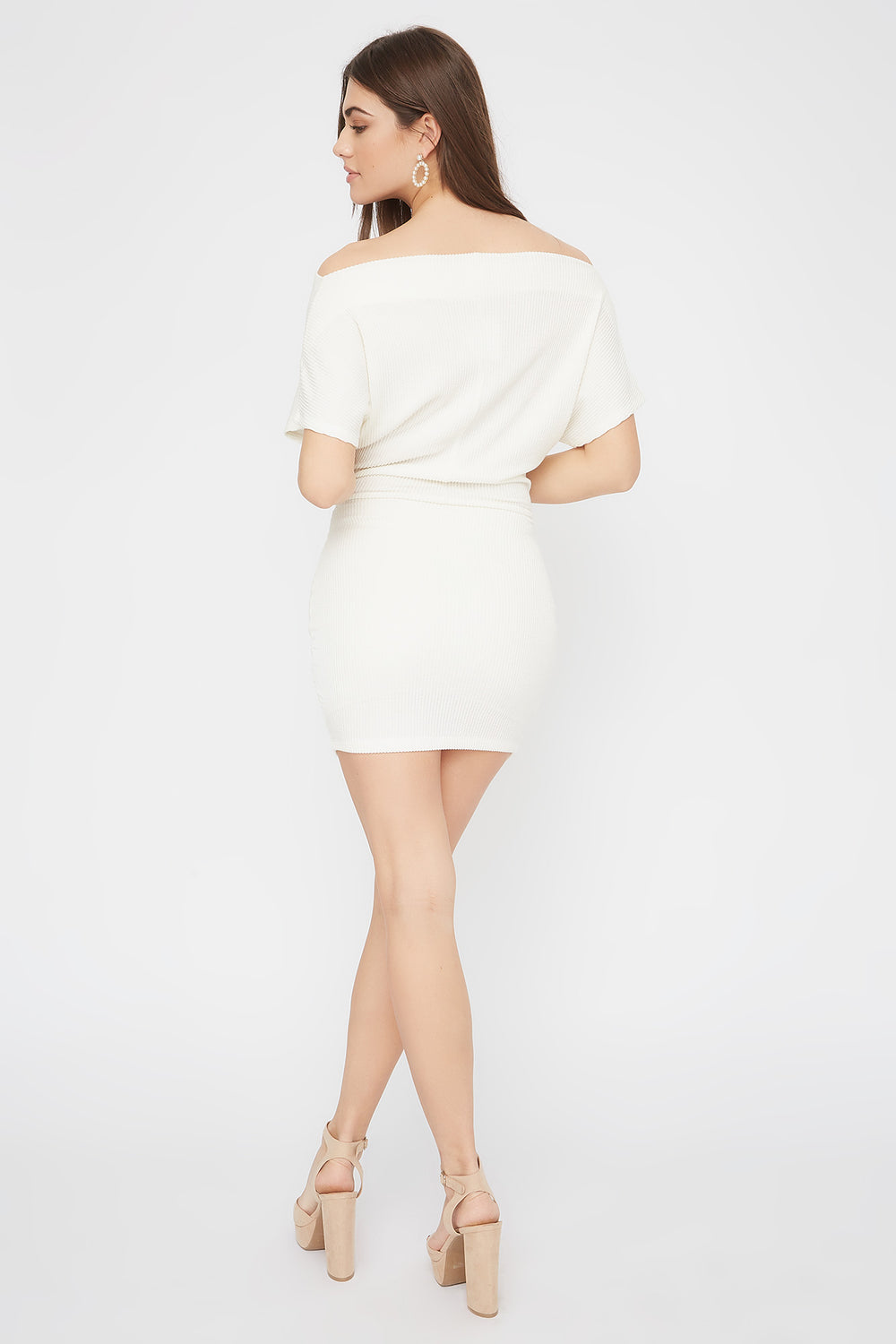 Ribbed Off The Shoulder Self Tie Mini Dress Ivory