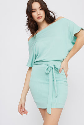 Ribbed Off The Shoulder Self Tie Mini Dress