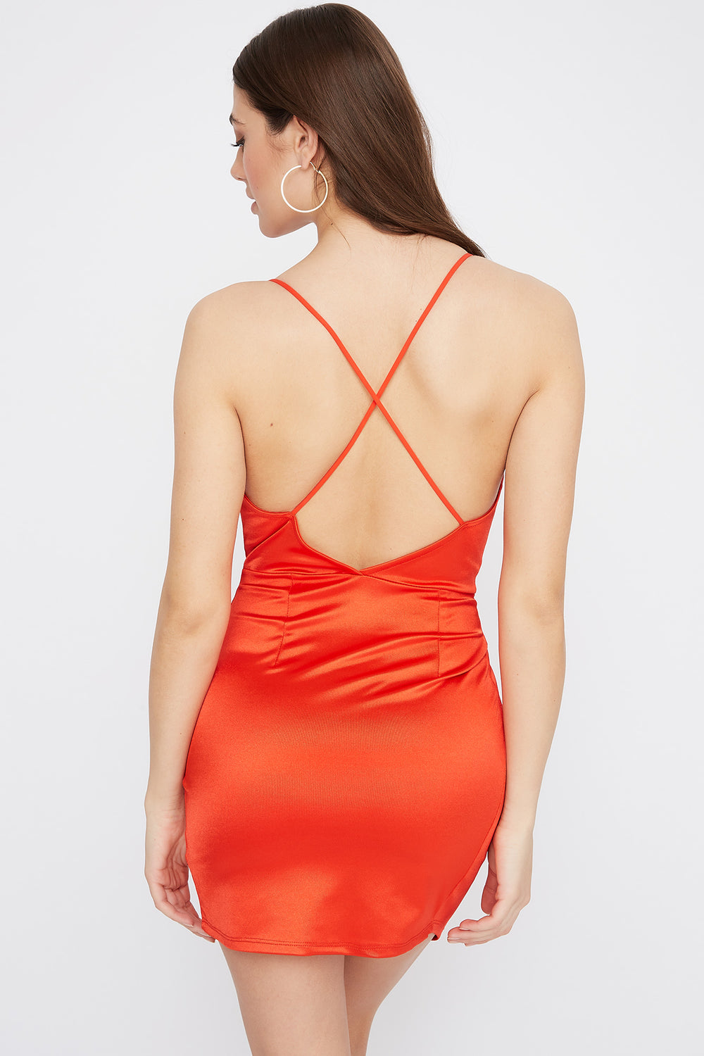 Satin V-Neck Cross Back Mini Dress Red