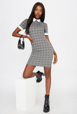 Collar Contrast Mini Dress