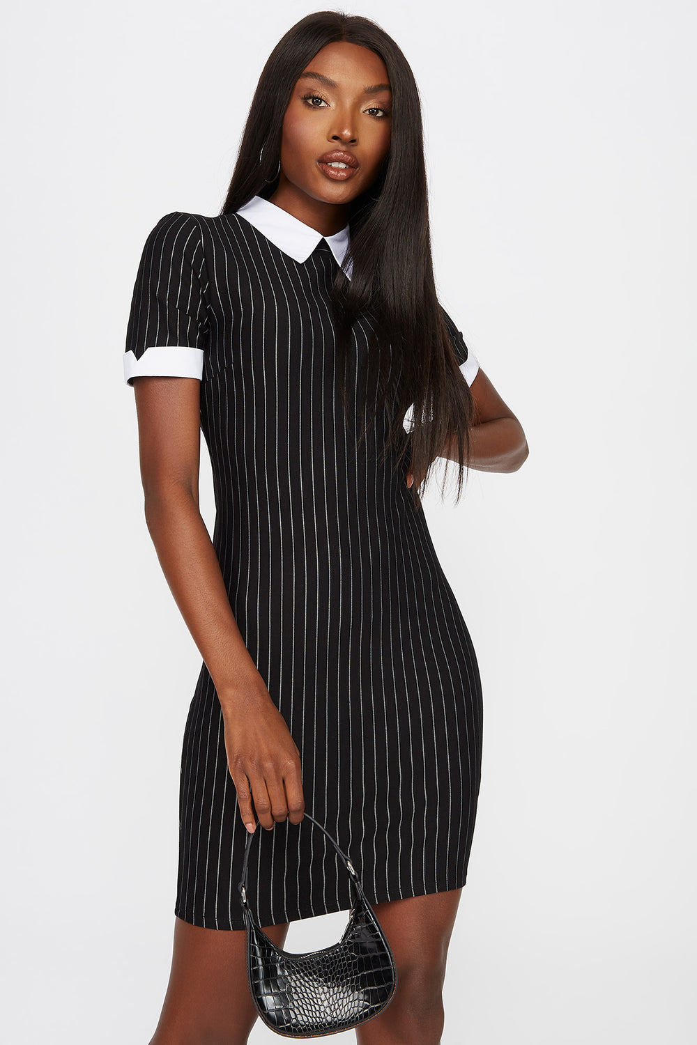 Collar Contrast Mini Dress Black with White