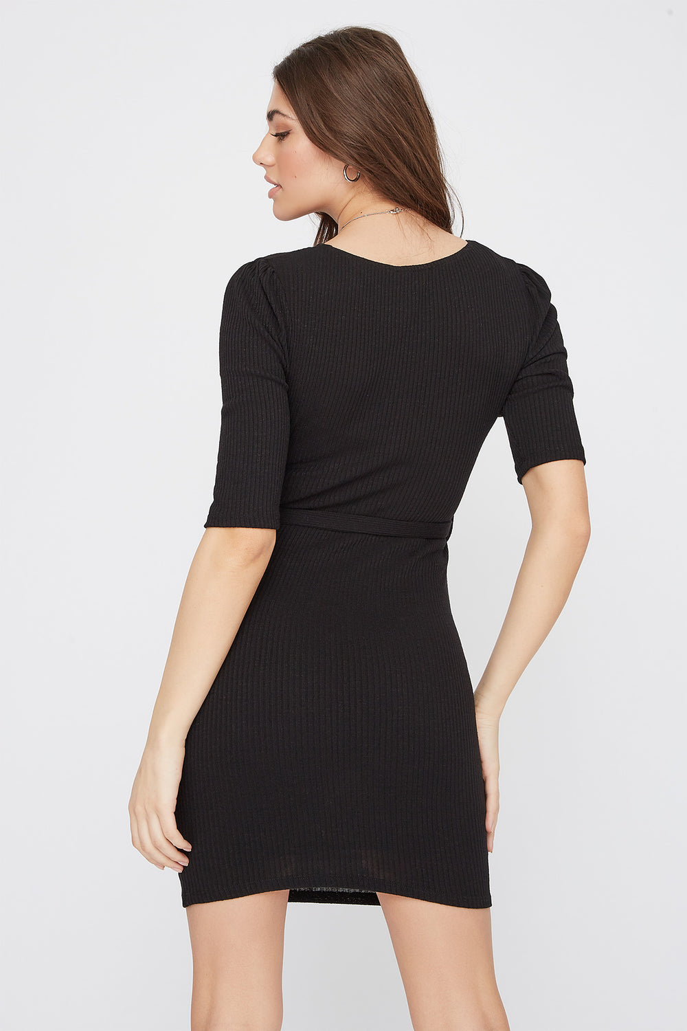 Ribbed V-Neck Self Tie Mini Dress Black