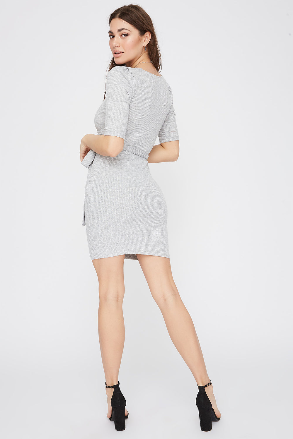 Ribbed V-Neck Self Tie Mini Dress Heather Grey
