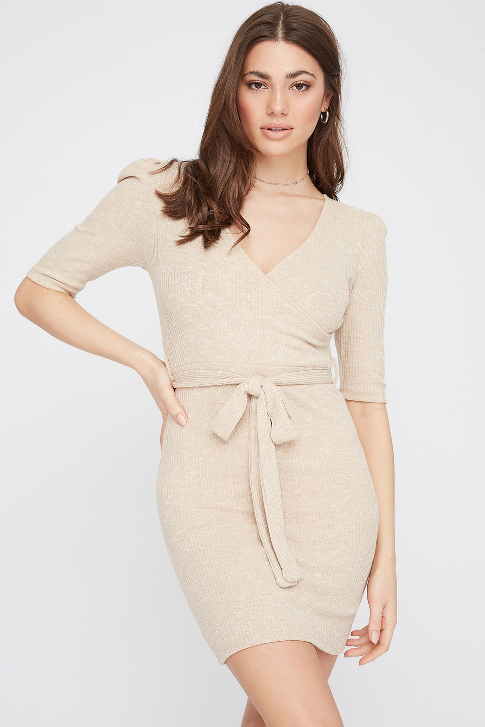 Ribbed V-Neck Self Tie Mini Dress Oatmeal