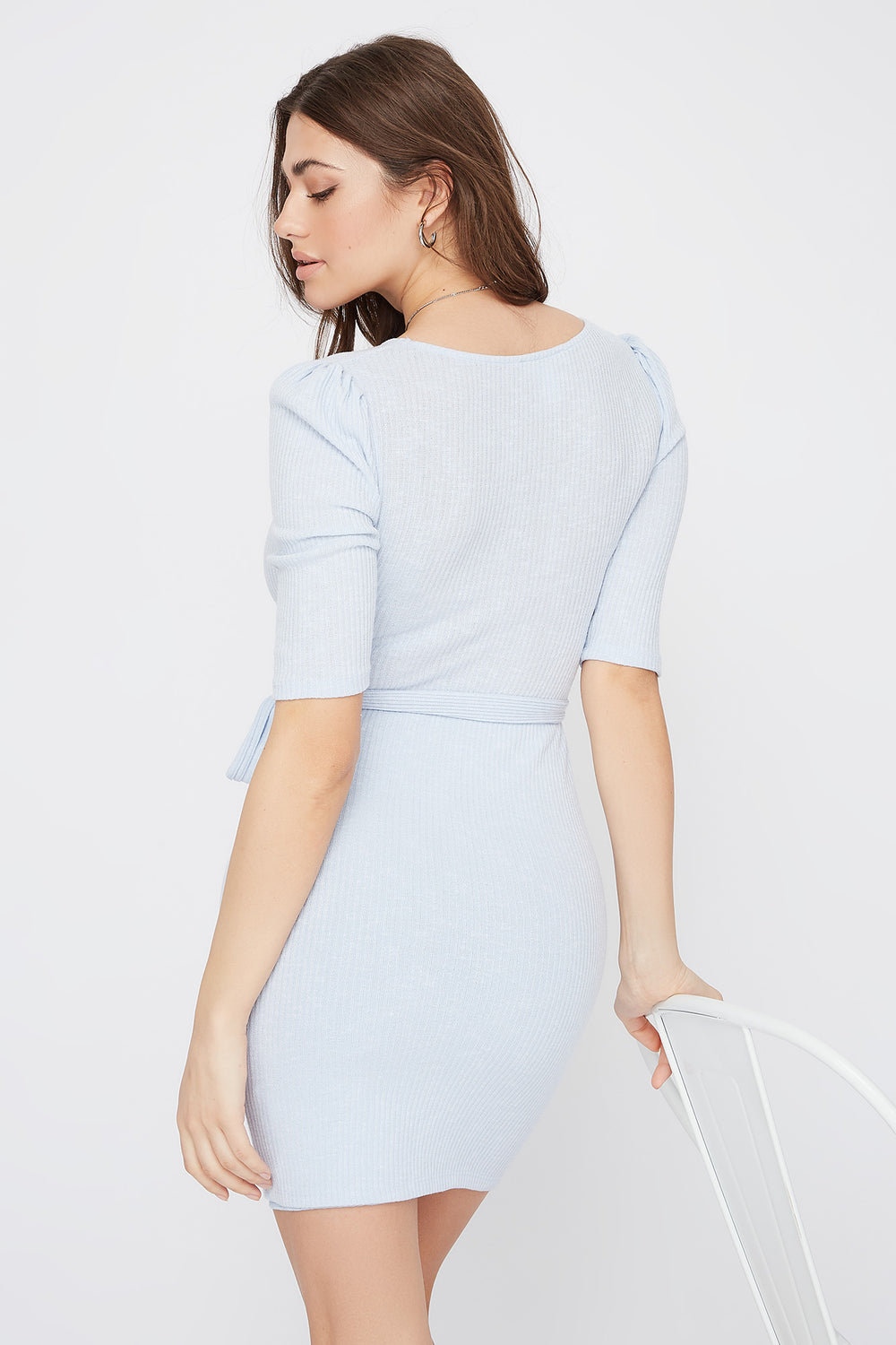 Ribbed V-Neck Self Tie Mini Dress Light Blue